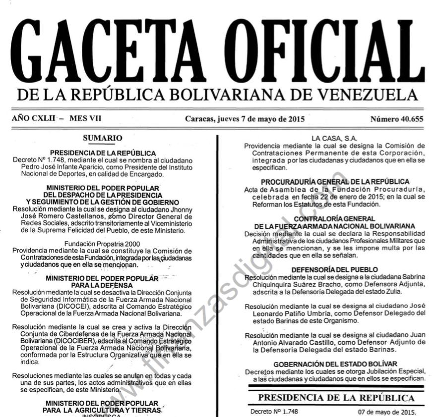 GACETA OFICIAL Nº 40655