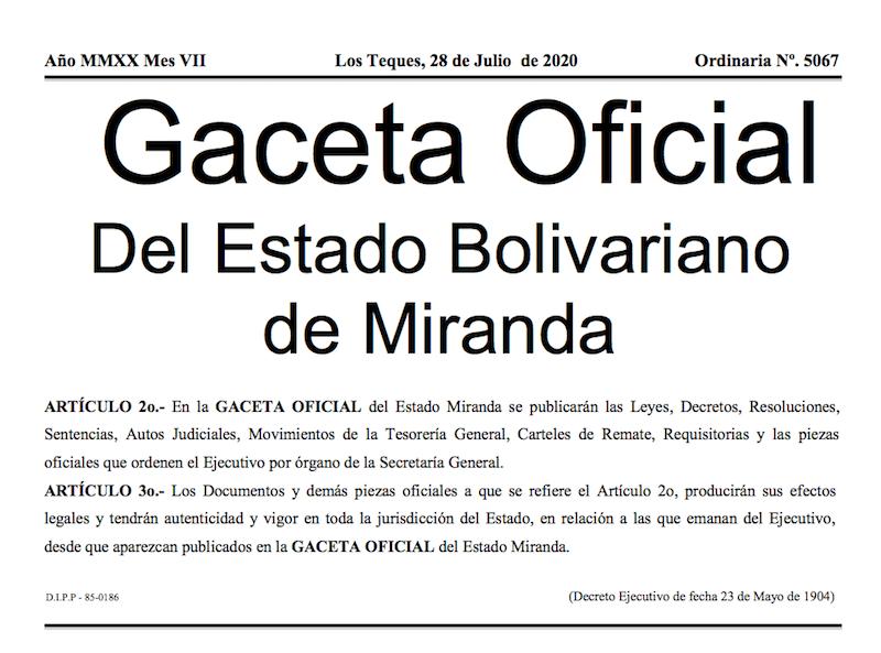 GACETA OFICIAL ORDINARIO Nº 5067 DEL ESTADO BOLIVARIANO DE MIRANDA
