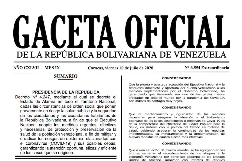 GACETA OFICIAL EXTRAORDINARIO Nº 6554