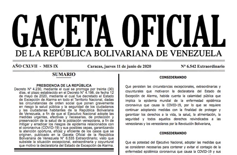 GACETA OFICIAL EXTRAORDINARIO Nº 6542