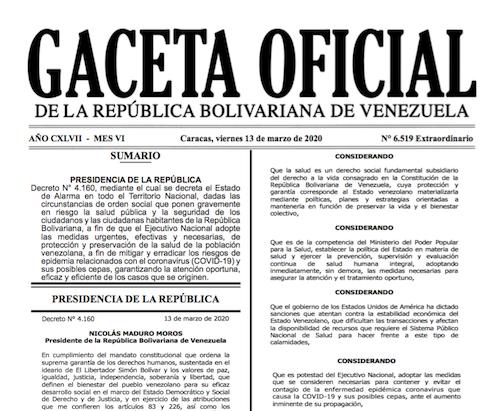 GACETA OFICIAL EXTRAORDINARIO Nº 6519 - COVID-19