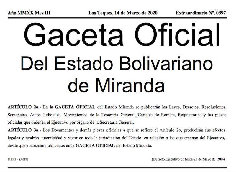 GACETA OFICIAL EXTRAORDINARIO Nº 0397 DEL ESTADO BOLIVARIANO DE MIRANDA - COVID-19