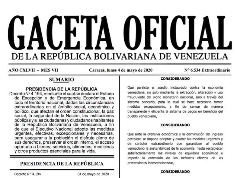 GACETA OFICIAL EXTRAORDINARIO Nº 6534