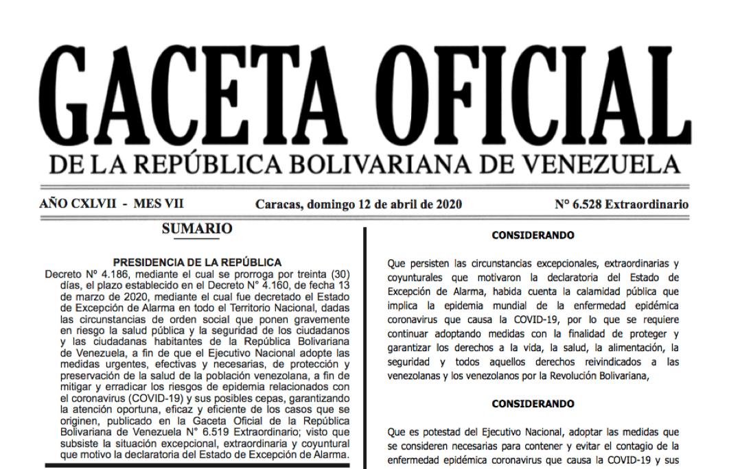 GACETA OFICIAL EXTRAORDINARIO Nº 6528