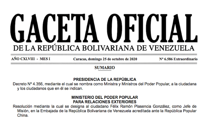 GACETA OFICIAL EXTRAORDINARIO Nº 6586