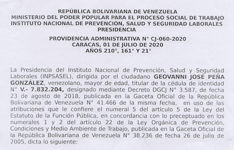 PROVIDENCIA ADMINISTRATIVA Nº CJ-060-2020. CARACAS, 1º DE JULIO DE 2020. AÑOS 210º, 161º Y 21º